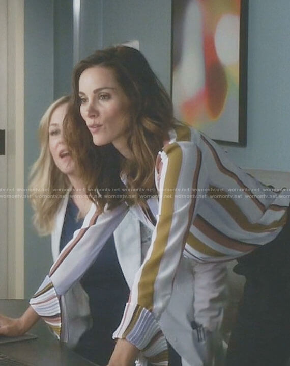 Carina's stripe pleated cuff blouse on Grey's Anatomy
