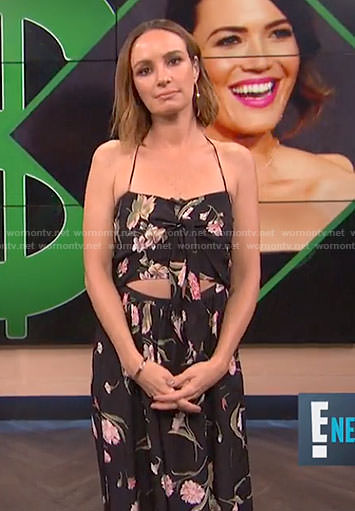 Catt's black floral cutout dress on E! News