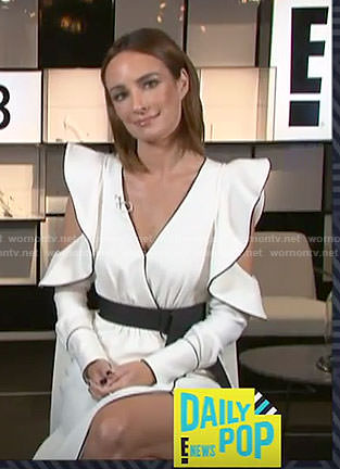 Catt's white cold-shoulder wrap dress on E! News Daily Pop