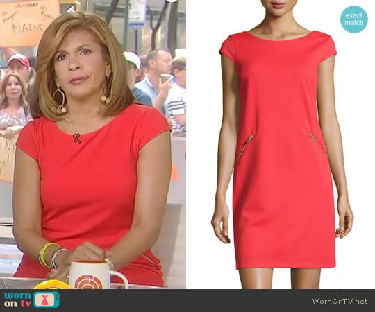 Pique Zip-Pocket Cap-Sleeve Dress by Chetta B worn by Hoda Kotb (Hoda Kotb) on Today