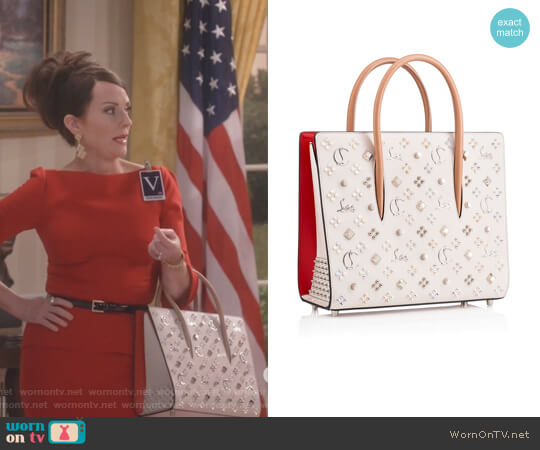Megan Studded Paloma Tote by Christian Louboutin worn by Megan Mullally on Will & Grace