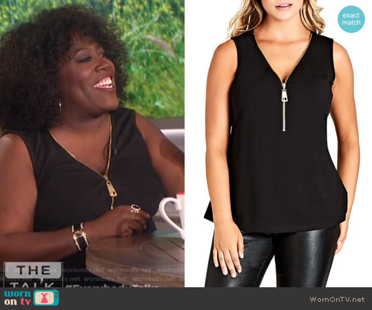 Sleeveless Zip Top by City Chic worn by Sheryl Underwood  on The Talk