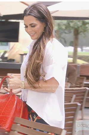 D'Andra's white blouse and black tropical pants on The Real Housewives of Dallas