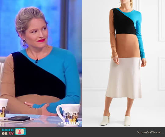 Color-block wool midi dress by Diane von Furstenberg worn by Sara Haines on The View