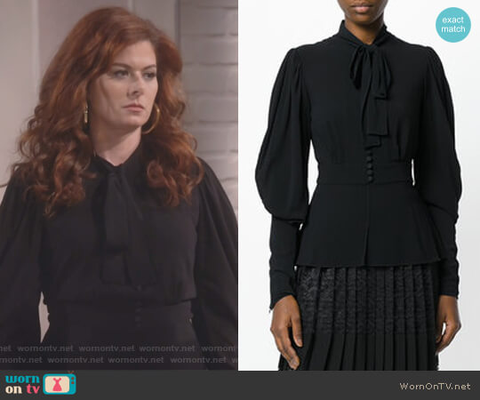 Pussy-Bow Blouse by Dolce & Gabbana worn by Debra Messing on Will & Grace