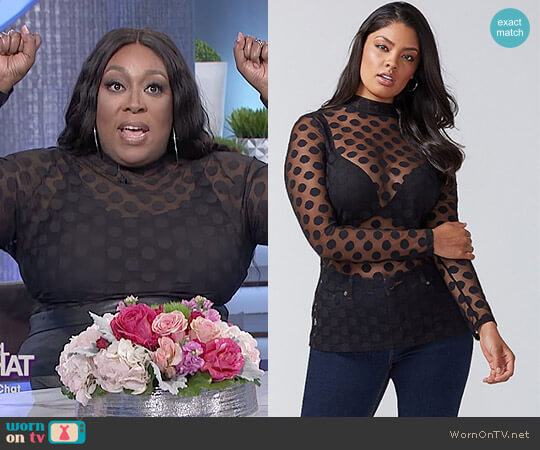 Dot Mesh Mock-Neck Top by Lane Bryant worn by Loni Love  on The Real