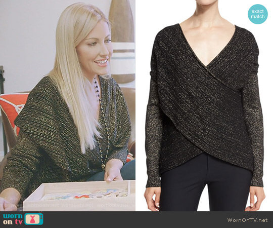 Cross-Front Metallic Sweater by 10 Crosby by Derek Lam worn by Stephanie Hollman  on The Real Housewives of Dallas