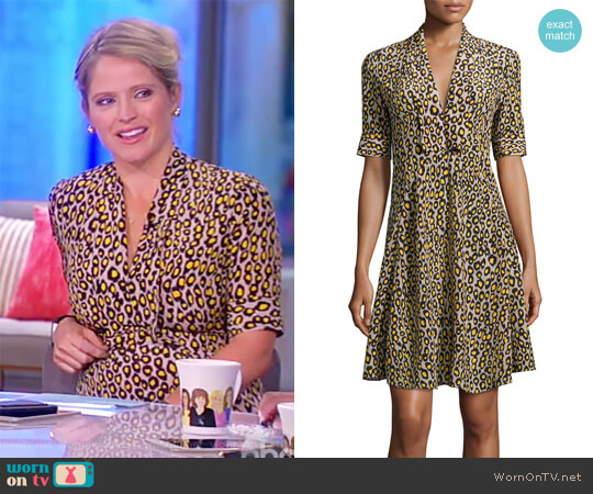 Leopard-Print Short-Sleeve Dress by Derek Lam worn by Sara Haines  on The View