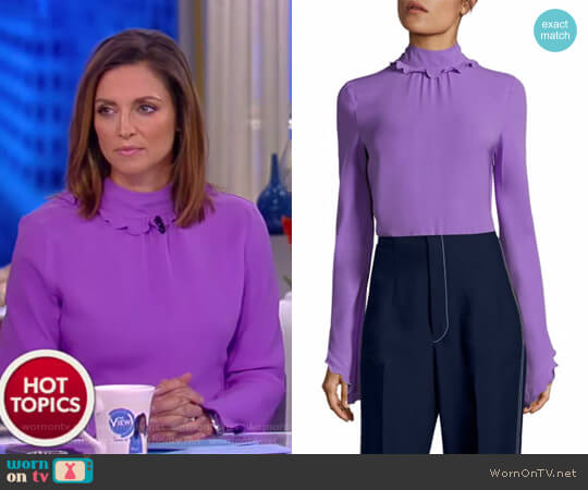 Silk Mockneck Top by Derek Lam worn by Paula Faris on The View