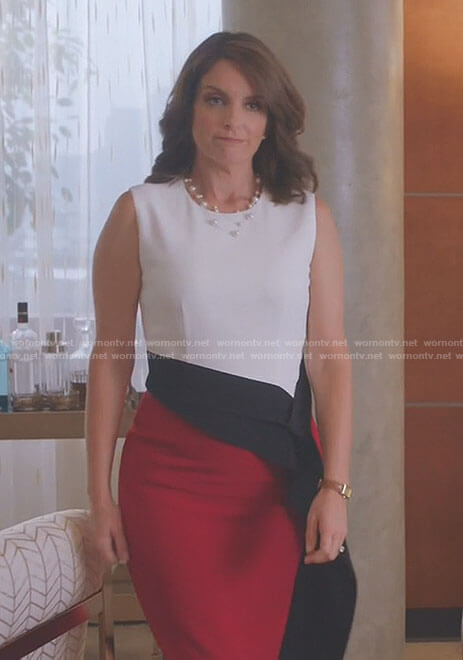 Diana's white and red colorblock dress with ruffle waist on Great News