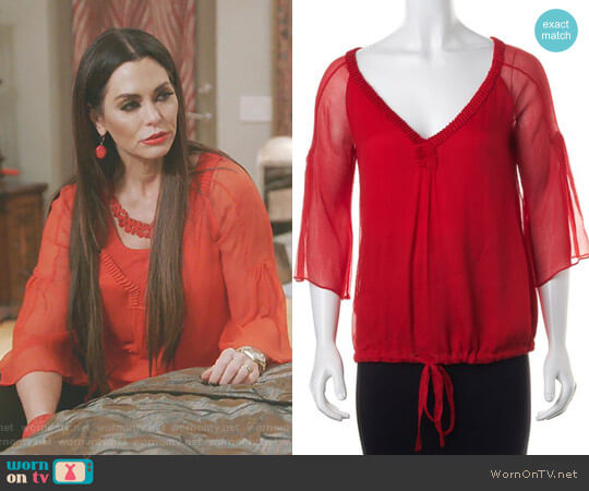 Silk Ruffled Blouse Top by Diane von Furstenberg worn by D'Andra Simmons on The Real Housewives of Dallas