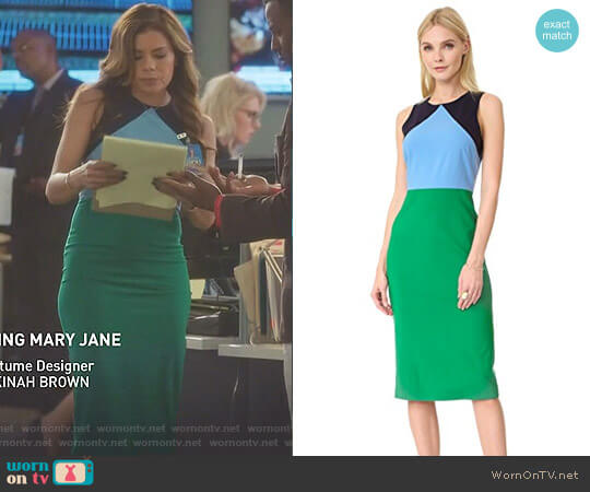 Sleeveless Midi Dress in Green Envy by Diane von Furstenberg worn by Kara Lynch (Lisa Vidal) on Being Mary Jane