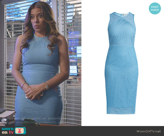 Mixed Lace Sheath Dress by Diane von Furstenberg worn by Lisa Vidal on Being Mary Jane