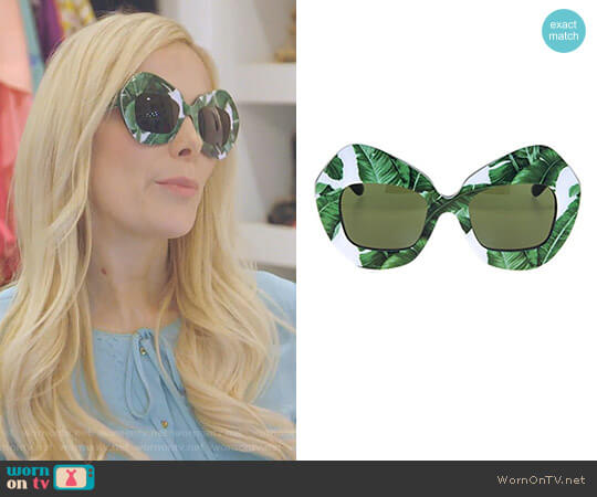 Botanical Garden Banana Leaf Green Sunglasses by Dolce & Gabbana worn by Kameron Westcott on The Real Housewives of Dallas