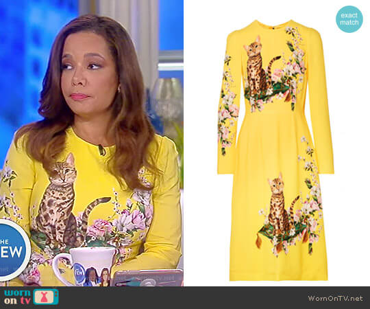 Printed Cady Midi Dress by Dolce & Gabbana worn by Sunny Hostin (Sunny Hostin) on The View