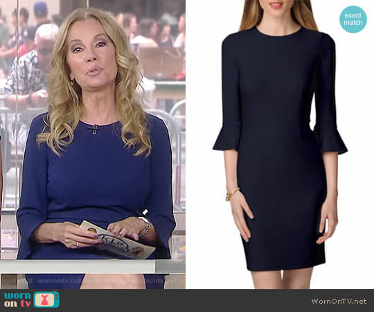 Three-Quarter Sleeve Sheath Dress by Donna Morgan worn by Kathie Lee Gifford  on Today