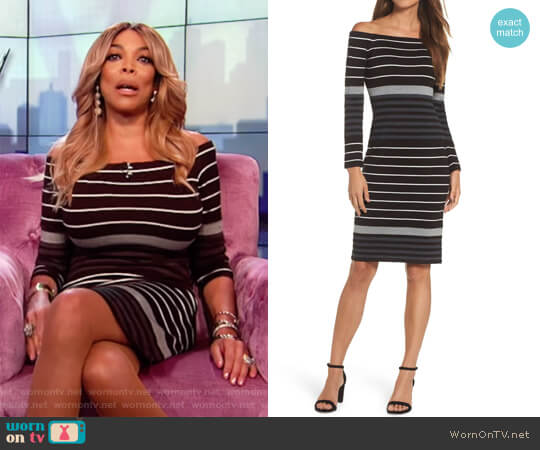 Off the Shoulder Stripe Sheath Dress by Eliza J worn by Wendy Williams on The Wendy Williams Show