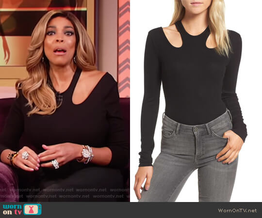 Rhoda Cutout Rib-Knit Bodysuit by Ella Moss worn by Wendy Williams  on The Wendy Williams Show