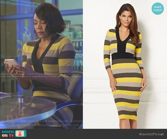 Eva Mendes Collection Francisca Stripe Sweater Dress by New York & Company worn by Mary Jane Paul (Gabrielle Union) on Being Mary Jane