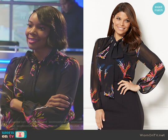 Eva Mendes Collection Isabella Bow Blouse by New York & Company worn by Gabrielle Union on Being Mary Jane