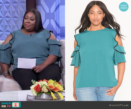 Cold Shoulder Ruffle Blouse by Eloquii worn by Loni Love  on The Real