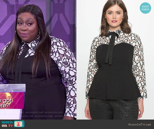 Studio Lace Peplum Bow Blouse by Eloquii worn by Loni Love on The Real