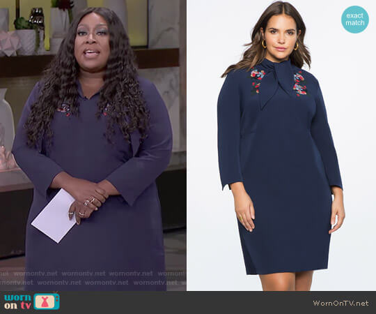 Tie Neck Tee Dress by Eloquii worn by Loni Love  on The Real