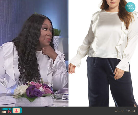 Satin Ruffle Top by Elvi worn by Loni Love  on The Real