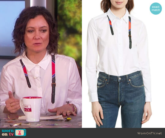 Essential Trompe l'Oeil Shirt by Equipment worn by Sara Gilbert on The Talk