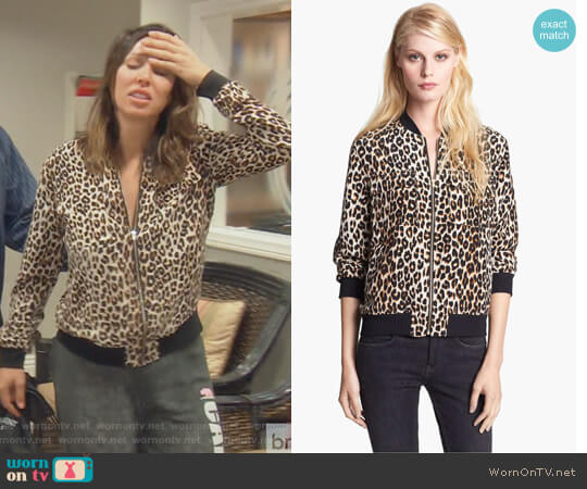 Abbot Leopard Print Silk Bomber Jacket by Equipment worn by Kelly Dodd on The Real Housewives of Orange County