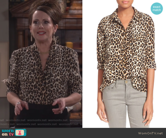 Slim Signature Silk Shirt by Equipment worn by Megan Mullally on Will & Grace