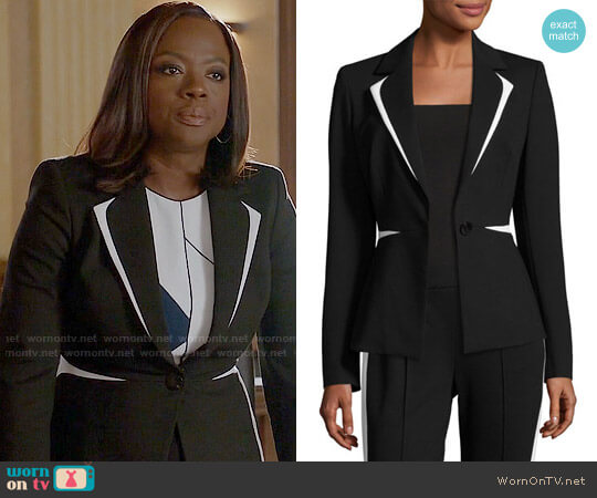 Escada Contrast-Trim One-Button Blazer worn by Viola Davis on HTGAWM