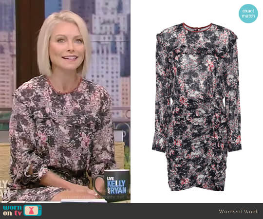 Jirvina Floral-Print Sheer Mini Dress by Etoile Isabel Marant worn by Kelly Ripa  on Live with Kelly & Ryan