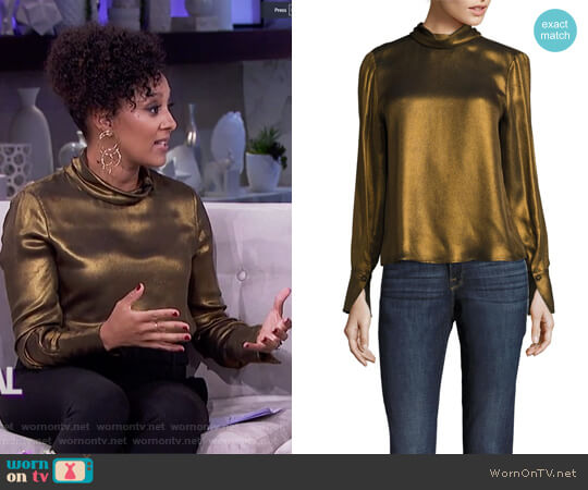 Concealed Lurex Blouse by Frame worn by Tamera Mowry on The Real