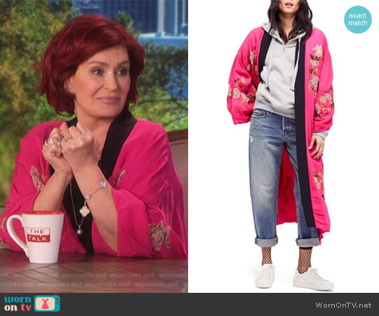 Embroidered Kimono Coat by Free People worn by Sharon Osbourne  on The Talk