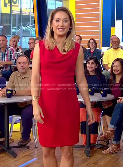 Ginger's red cowl neck dress on Good Morning America