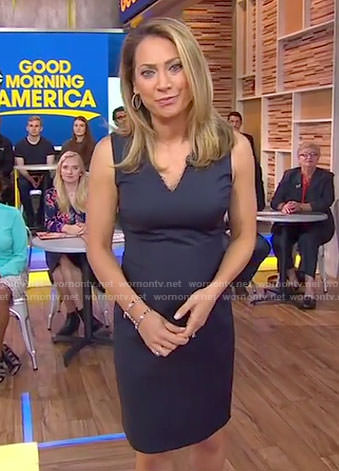Ginger's black embellished v-neck dress on Good Morning America