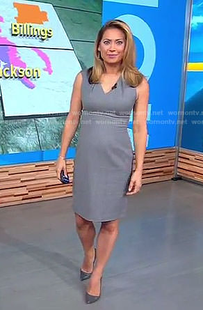 Ginger's grey v-neck dress on Good Morning America