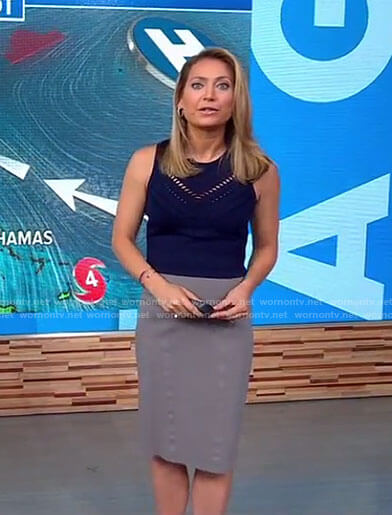 Ginger's navy perforated knit top on Good Morning America