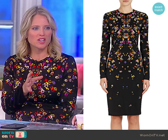 Pansy-Print Jersey Long-Sleeve Dress by Givenchy worn by Sara Haines on The View
