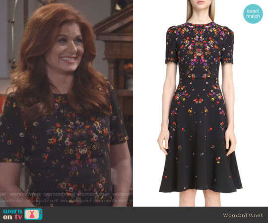 Pansy Print Stretch Cady Dress by Givenchy worn by Debra Messing on Will & Grace