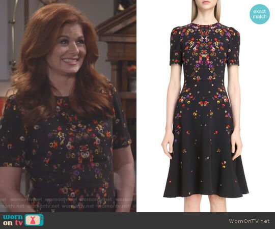 Pansy Print Stretch Cady Dress by Givenchy worn by Grace Adler (Debra Messing) on Will & Grace