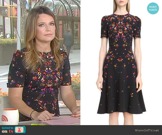 Pansy Print Stretch Cady Dress by Givenchy worn by Savannah Guthrie on Today