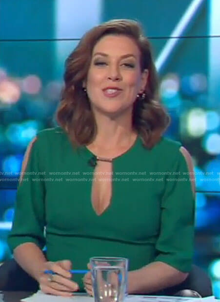 Gorgi's green keyhole dress on The Project