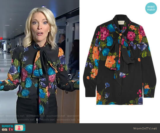 Pussy-Bow Floral Print Silk Blouse by Gucci worn by Megyn Kelly on Today