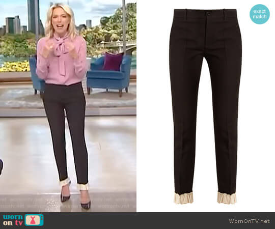 Ruffled-Hem Silk and Wool-Blend Trousers by Gucci worn by Megyn Kelly on Today