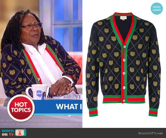 Tiger Argyle Wool Cardigan by Gucci worn by Whoopi Goldberg on The View