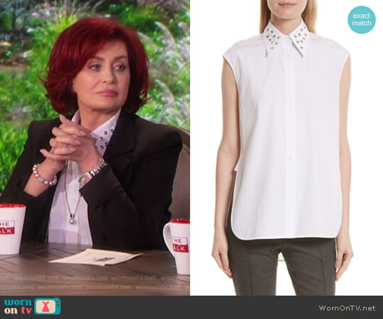 Eyelet Cotton Poplin Shirt by Helmut Lang worn by Sharon Osbourne on The Talk