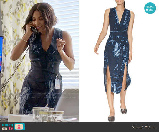 Halston Heritage Printed Double-Slit Dress worn by Gabrielle Union on Being Mary Jane