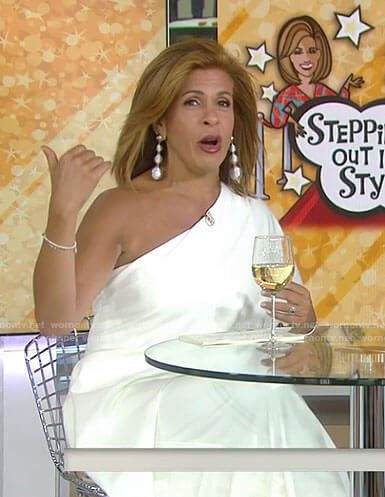 Hoda's white one shoulder jumpsuit on Today